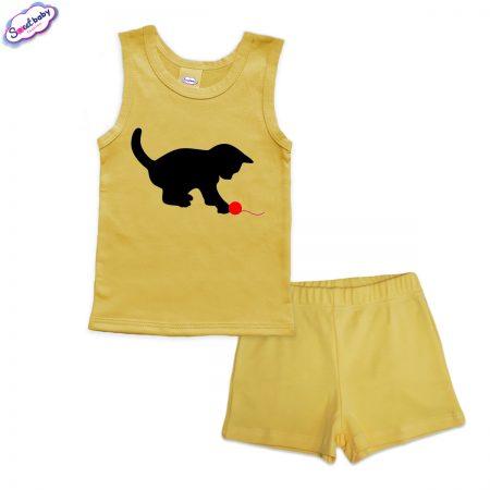 Детска пижама Коте с прежда панталонки жълто