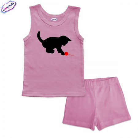 Детска пижама Коте с прежда панталонки розово