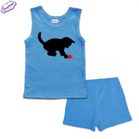 Детска пижама Коте с прежда панталонки синьо
