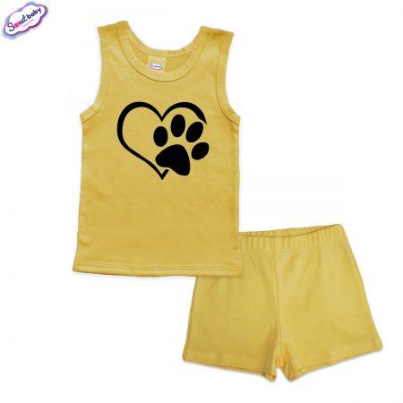 Детска пижама Лапичка панталонки жълто