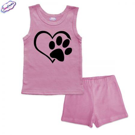 Детска пижама Лапичка панталонки розово
