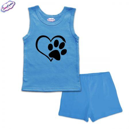 Детска пижама Лапичка панталонки синьо