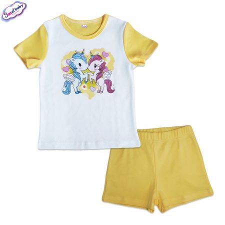 Детска пижама Малки еднорогчета жълто бяло