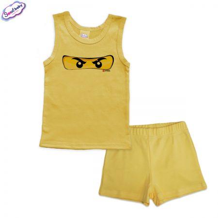 Детска пижама Маска Lego панталонки жълто