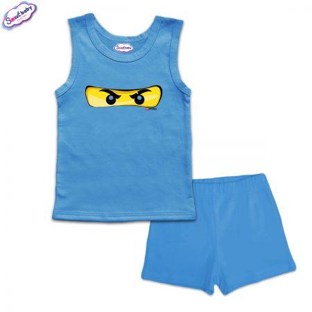 Детска пижама Маска Lego панталонки синьо