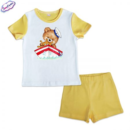 Детска пижама Мечо капитан жълто бяло