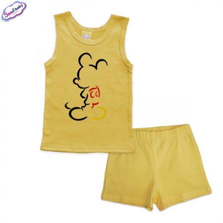 Детска пижама Мики сянка панталонки жълто