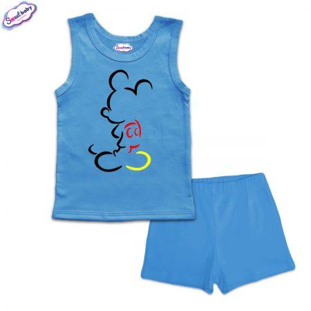 Детска пижама Мики сянка панталонки синьо