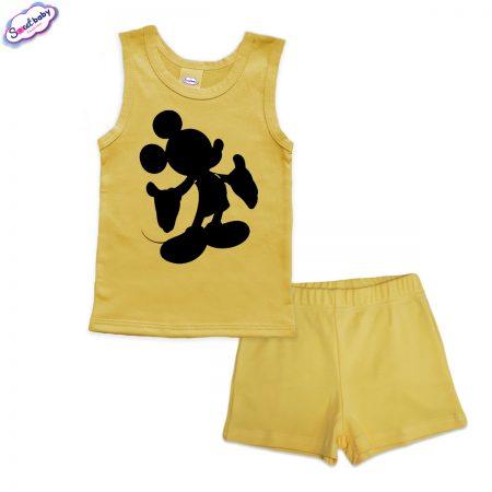 Детска пижама Мики halloween панталонки жълто