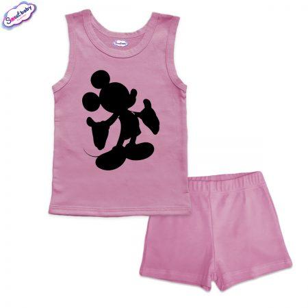 Детска пижама Мики halloween панталонки розово