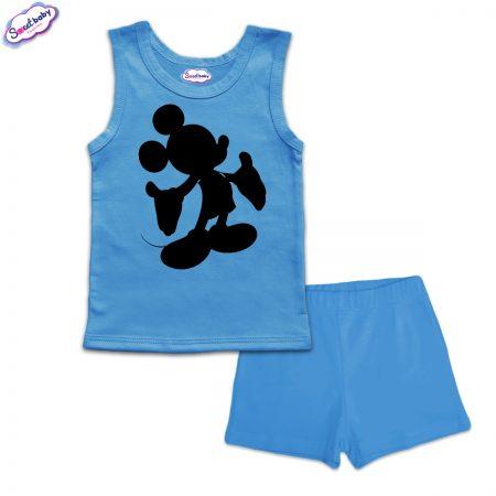 Детска пижама Мики halloween панталонки синьо
