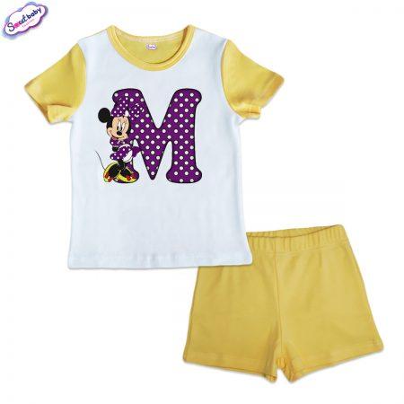 Детска пижама Ммини жълто и бяло