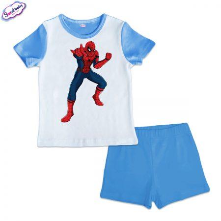 Детска пижама Спайдърмен синьо бяло
