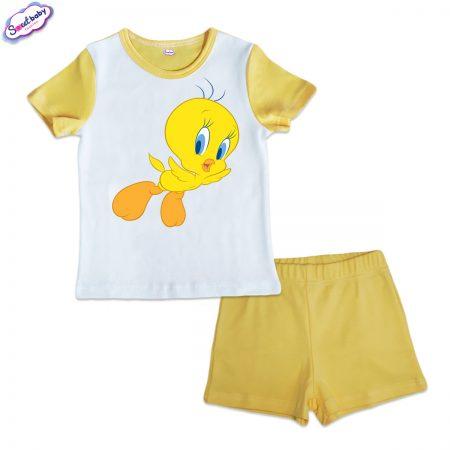Детска пижама Туити жълто и бяло