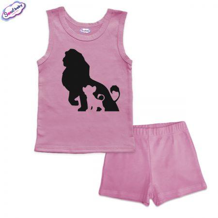 Детска пижама Цар Лъв и Симба панталонки розово