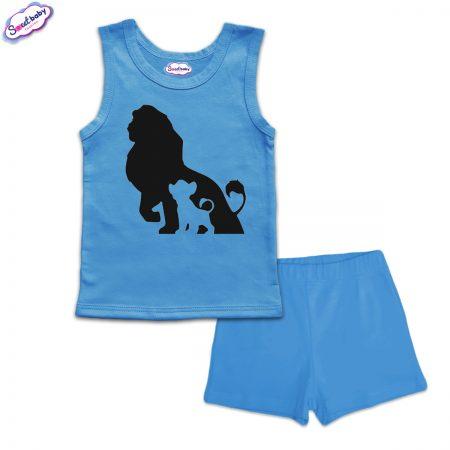Детска пижама Цар Лъв и Симба панталонки синьо