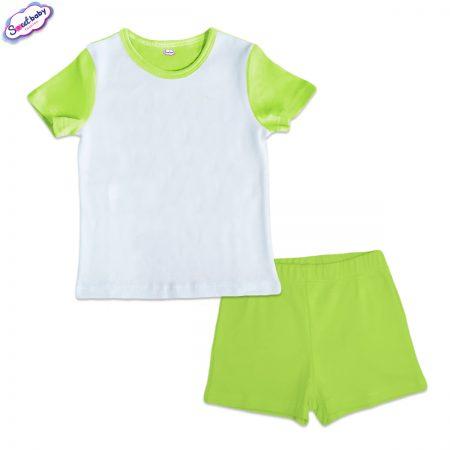 Детска пижама къси панталонки зелено бяло
