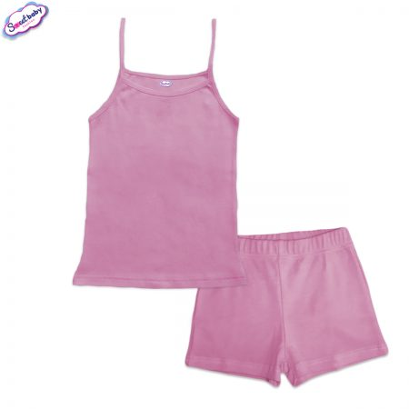 Детска пижама потник панталонки в розово