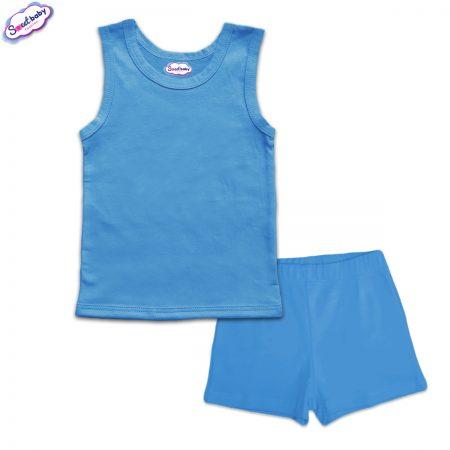 Детска пижама с потник панталонки синьо