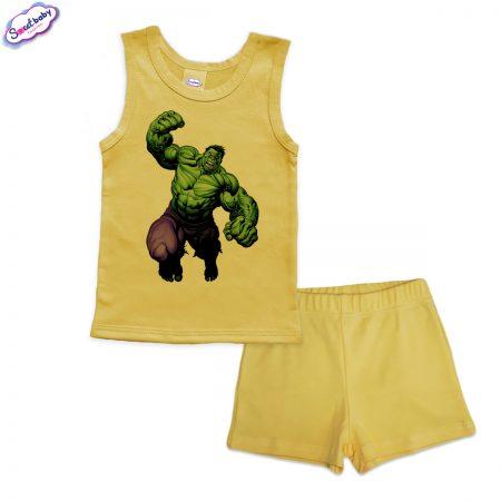 Детска пижама Hulk потник панталонки жълто