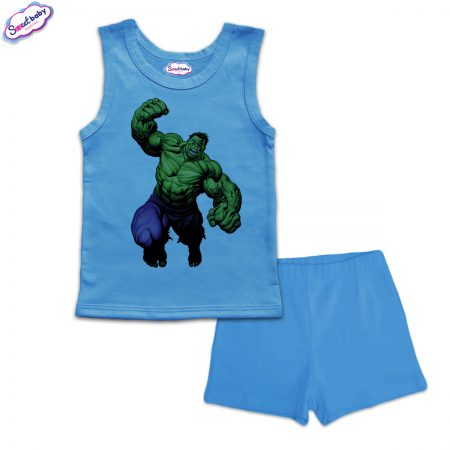 Детска пижама Hulk потник панталонки синьо