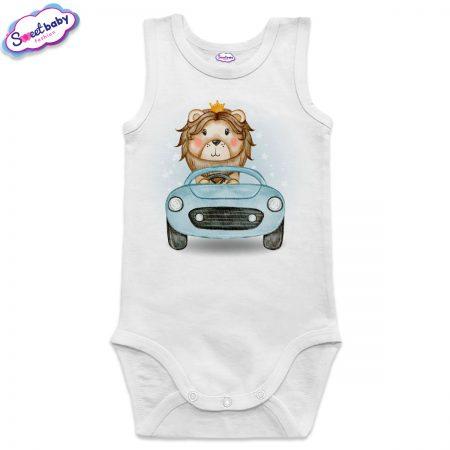 Бебешко боди Лъвчо шофьор в бяло