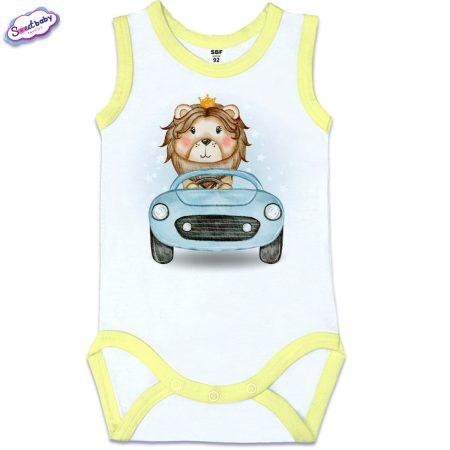 Бебешко боди Лъвчо шофьор жълт кант
