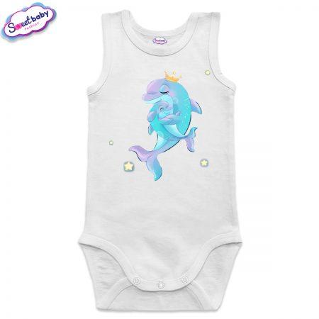 Бебешко боди Мама делфин в бяло