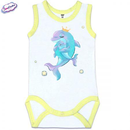 Бебешко боди Мама делфин жълт кант