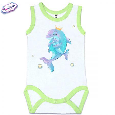 Бебешко боди Мама делфин зелен кант