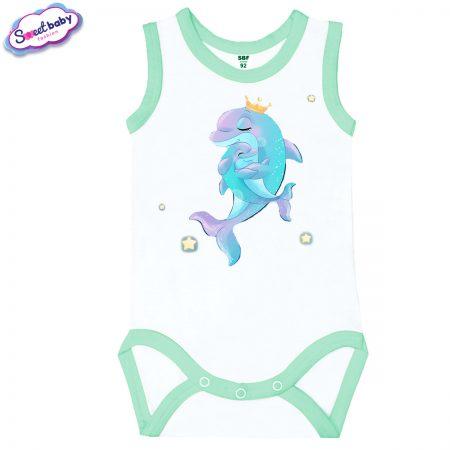 Бебешко боди Мама делфин мента кант