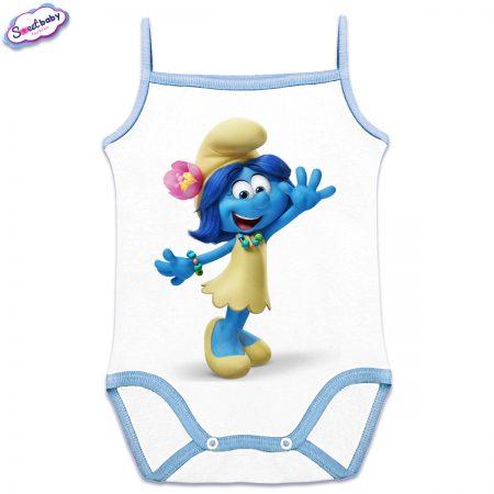Бебешко боди Смърфиетка сини презрамки