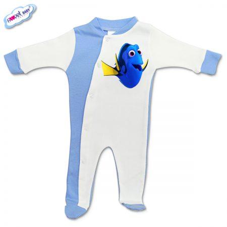 Бебешко гащеризонче Дори синьо и бяло