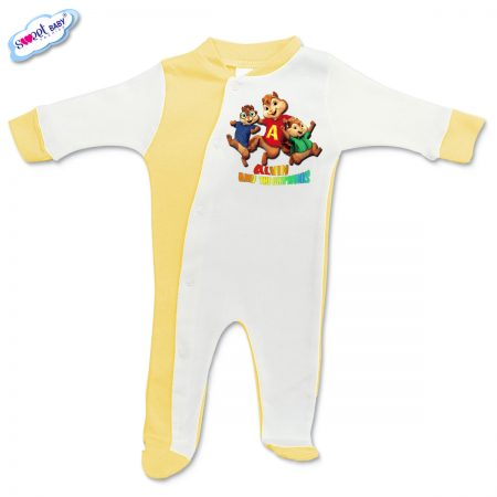 Бебешко гащеризонче Катерички жълто и бяло