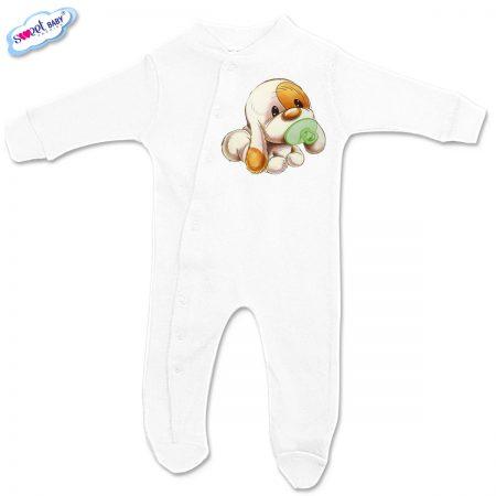 Бебешко гащеризонче Кученце бебе в бяло