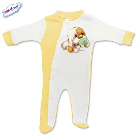 Бебешко гащеризонче Кученце бебе жълто бяло