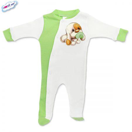 Бебешко гащеризонче Кученце бебе зелено бяло