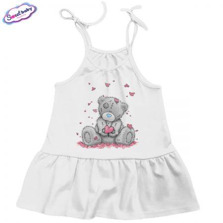 Детска рокличка Мече със сърчица бяло