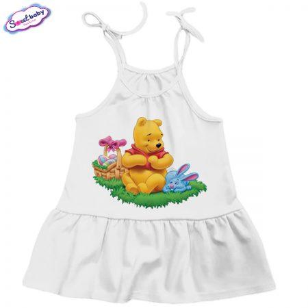 Детска рокличка Пух и Зайо бяло