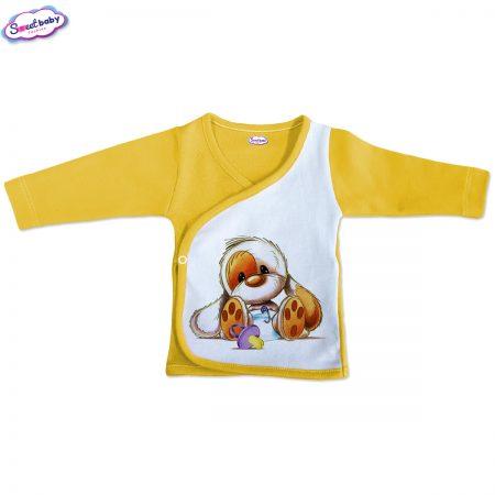 Бебешка камизолка Кученце бебенце жълто бяло