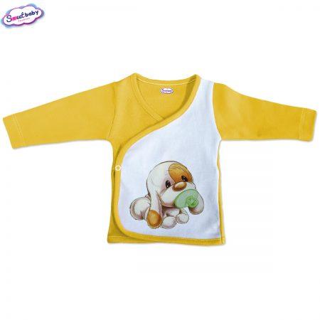Бебешка камизолка Кученце бебе жълто бяло