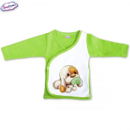 Бебешка камизолка Кученце бебе зелено бяло