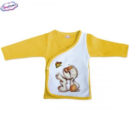 Бебешка камизолка Кученце с пеперудка жълто