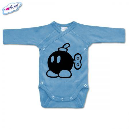 Бебешко боди прегърни ме Бомба синьо