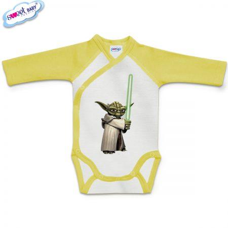 Бебешко боди прегърни ме Йода жълто