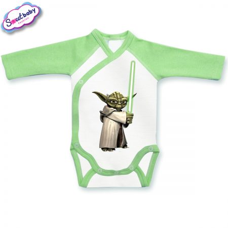 Бебешко боди прегърни ме Йода зелено