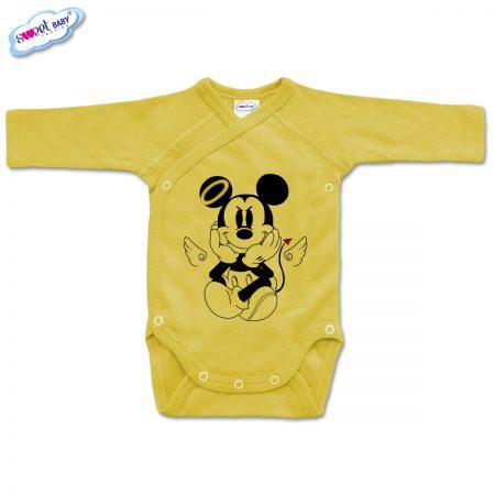 Бебешко боди прегърни ме МикиДемон жълто