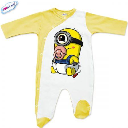 Бебешко гащеризонче Бебеминьон бяло и жълто