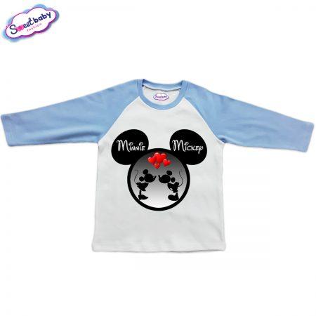 Блузка Мини Мики бяло и синьо