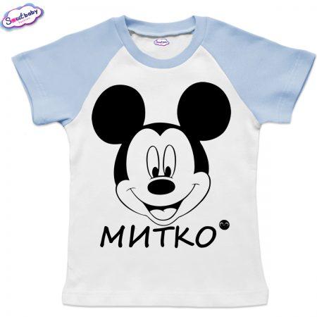 Детска тениска Миткоо в бяло синьо